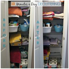 10 Minutes a Day Decluttering - Linen Closet Before and After from The Peaceful Mom -  PLUS 10 minute projects to organize your home!