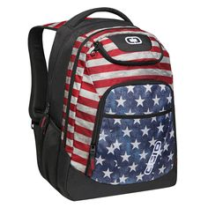 OGIO International Tribune Backpack, Stars & Stripes. Padded interior laptop compartment fits most 17 inch laptops. Padded iPad/tablet/e-reader sleeve. Zippered fleece lined top valuables pocket. Large main compartment for books, binders and files. Padded back panel with air mesh for moisture wicking. Pockets: 1 interior slip, 1 interior zip, 2 exterior.
