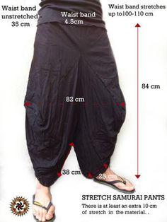 Black Stretch Samurai Pants