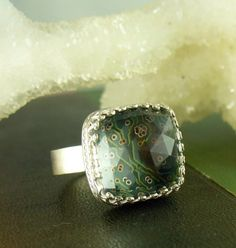 Cyber Sparkle ring, recycled computer parts
