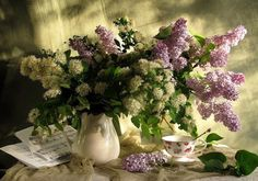 Still Life - lovely, romantic, white, music, beautiful, flowers, bouquet, lilac, romance, colorful, cup, still life, pretty, petals, beauty, vase, nature, green, colors, spring, photography, cup of tea, musical notes, lilacs, tea