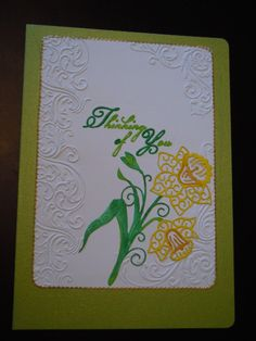 Tattered lace sentiments embossing folder and daffodil die