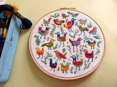 "stitchingsanity: "" paintyfeet: "" More embroidery- lots and lots of tiny birds. "" Love it! """