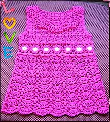 Pink Crocheted Dress for a Young Lady