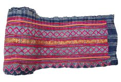 "Brocade and Batik Linen TREASURE TROVE Yao Hill Tribes of Southeast Asia 324""L x 12"" ($540.00)  $379.00 One Kings Lane"