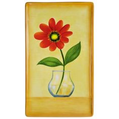"Red Flower Platter w/Stand $35.00  An object d'art! Our Hand Painted Red Bloom Platter with Stand brings new life to florals and features brilliant reds, sunny yellows, and mesmerizing greens. A detailed artistic process causes unique variations in each piece. Arrives gift boxed.   Ceramic   12"" x 7"" x 1""   Gift box   2 pieces"