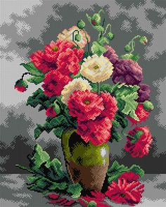 Still Life Of Peonies Tapestry Canvas Free Cross Stitch Charts, Cross Stitch Bookmarks, Cross Stitch Designs, Cross Stitch Patterns, Cross Stitching, Cross Stitch Embroidery, Chicken Cross Stitch, Love Knitting, Tapestry Kits