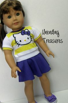 American Girl doll clothes, 18 inch doll clothes, Hello Kitty top only and purple skater skirt