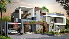 Ultra Modern Home Designs: House Interior Exterior Design Rendering Indian Home Design, House Front Design, Modern House Design, Modern Buildings, Modern Architecture, Indian Architecture, Interior Exterior, Exterior Design, Bungalow Haus Design