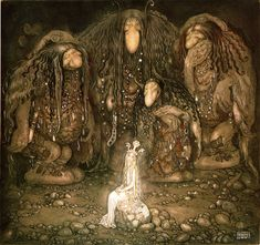 """""""Look at them, Mother Troll said. Look at my sons! You won't find more beautiful trolls on this side of the moon!"""" - 1915 watercolor by John Bauer from Bland tomtar och troll (English: Among Gnomes and Trolls) John Bauer, Art And Illustration, Fairy Tale Illustrations, Fantasy Magic, Fantasy Art, Art Magique, Classic Fairy Tales, Fairytale Art, Norse Mythology"""