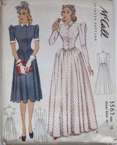 McCall 3567: Misses' dress pattern from 1940