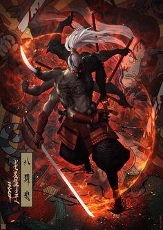 "spassundspiele: ""Eight arm ghost – fantasy concept by mist XG "" Anime Fantasy, Dark Fantasy, Fantasy Art, Ronin Samurai, Samurai Art, Character Concept, Character Art, Concept Art, Illustration Fantasy"