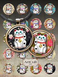 LUCKY CAT  Digital Collage Sheet 1 inch and 1.5 inch by ArtCult, $4.60