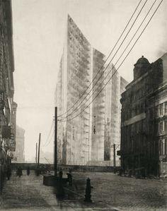 Freidrichstrasse Skyscraper Project 1921; transparent version of Mies's photomontage - Mies van der Rohe