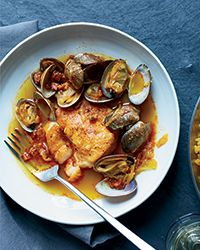 Hake, Clams and Chorizo in Broth with Paella Rice Recipe on Food & Wine