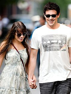 Lea  Michele and Cory Monteith.. I can't believe they are actually dating! lovee them! #leamichele #corymonteith #glee