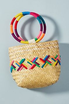 Discover unique bags, clutches & travel accessories at Anthropologie, including the season's newest arrivals. Woven Beach Bags, Diy Bags Purses, Embroidery Bags, Art Bag, Work Bags, Basket Bag, Fabric Bags, Summer Bags, Handmade Bags