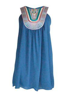 Blue Embroidery Dress – DejaVu