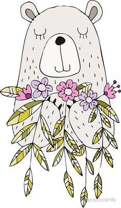 'Cartoon Animals Cute Bear With Flowers' Sticker by peacockcards - Modern Woodland Animal Nursery, Woodland Animals, Scrapbooking Image, Bear Cartoon, Cartoon Crazy, Cartoon Turtle, Cartoon Cartoon, Cute Cartoon Animals, Cartoon Characters