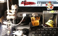 Have a little extra help this morning, what with #groot making sure the cable is plugged in an #walle putting in the sd card my life is easier with friends helping #disney #pixar #thinkwaytoys #meca #scalers #guardiansofthegalaxy #megablok #minions
