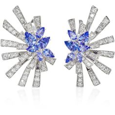 Hueb Mirage 18K White Gold, Diamond and Tanzanite Earrings ($7,500) ❤ liked on Polyvore featuring jewelry, earrings, blue, blue diamond jewelry, blue diamond earrings, white gold earrings, diamond jewelry and white gold diamond jewelry