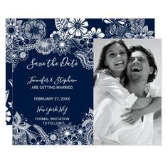 #White Navy Blue Illustrative Florals Save the Date Card - #weddinginvitations #wedding #invitations #party #card #cards #invitation #photo