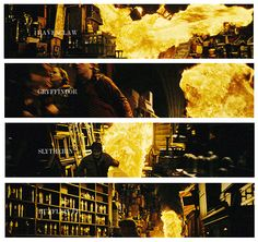 """If you pay attention, there is a very important scene in the Room of Requirement when the fire is personified in each Hogwarts House. This shows that every House has two sides. Good and evil."" — David Yates"