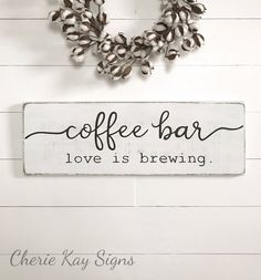 Coffee sign coffee bar wood sign farmhouse wall decor farmhouse sign farmhouse kitchen decor rustic wood sign 28 x 9 25 is part of Rustic decor Cafe - CherieKaySigns Country Farmhouse Decor, Farmhouse Kitchen Decor, Farmhouse Signs, Modern Farmhouse, Kitchen Country, French Farmhouse, Country Wall Decor, Country Signs, Farmhouse Windows