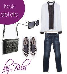 Look del día Chicas Moda Honduras.  Para hoy te propongo jeans con una camisa manga larga negra y blanca, bailarinas con estampado animal print con un bolo negro y gafas de sol negras.  By Bilu