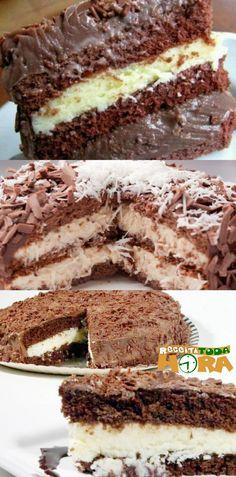Bolo Prestígio, simples e fácil de fazer. #bolo #prestígio Muffins, Piece Of Cakes, Sweet Life, Cake Cookies, Coco, Tiramisu, Red Velvet, Delicious Desserts, Catering