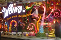 We installed computer-programed LED animations in the window facing Times Square. Hot Chocolate Bars, Chocolate Factory, Willy Wonka, Halloween Candy, Halloween Decorations, Candy Store Display, Candy Trees, Shop Window Displays, Library Displays
