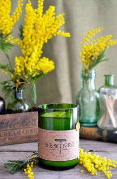 Heart of Gold blog | Rewined Mimosa Candle + mimosa flowers