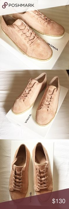 Vince Jadon Suede Sneaker New with box and dust bag, never worn Size 6M Beautiful blush color with top stitched detail Round toe Lace-up closure Top stitch detail Espadrille and rubber grip midsole Vince Shoes Espadrilles