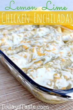 Delicious Lemon Lime Chicken Enchiladas from TodaysTaste.com #Chicken #Enchiladas #Essentialoilsrecipe #SparkNaturals