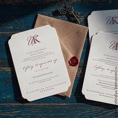 Купить свадебное пригласительное - бордовый, приглашение на свадьбу, высокая печать, хлопок 100%, шаблоны приглашений