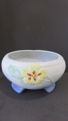 Weller Pottery Low Bulb Bowl Footed Planter Yellow Flower Design #Weller #ArtDeco