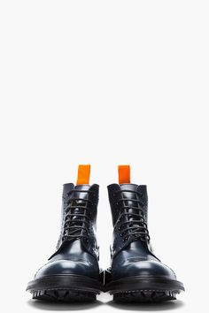 JUNYA WATANABE Navy Leather Steer Quarter Brogue Super Boots