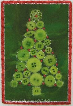 Button Tree Christmas Postcards (with tutorial)