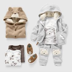 Products - bear,bears-There's just something adorable about a baby bear and a baby wearing bears (say that 5 times fast! Baby Bear Outfit, Baby Boy Outfits, Kids Outfits, Fall Baby Clothes, Kids Clothes Boys, Baby Boy Fashion, Fashion Kids, Fall Fashion, Fashion 2016