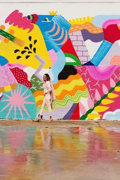 Art for Model Photoshoot Murals Street Art, Graffiti Wall Art, Mural Wall Art, Street Wall Art, Wal Art, School Murals, Art Abstrait, Art Design, Public Art