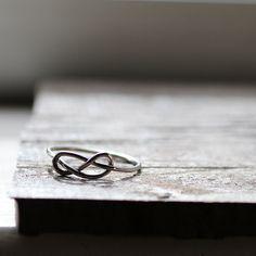 Rustic Sterling Infinity Ring - recycled metal Sister Ring. $40.00, via Etsy.