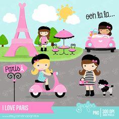 I LOVE PARIS Digital Clipart Paris Clipart Niñas en por grafos