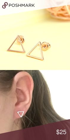 18k rose-gold plate Delicate Triangle Earrings COMING SOON!!!! Simplicity at its finest, these gorgeous, delicate 18k Rose Gold plated triangle earrings are the perfect everyday, boho accessory!!! Pair with your favorite jeans, t and booties for an instantly chic, everyday look, or, your favorite night on the town attire!!! All jewelry comes inside of a protective dust bag inside of a unique handmade one of a kind storage box!!! Makes a great gift!!! Reserve yours today!! Simply comment…