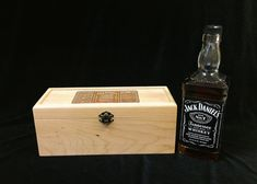 Jack Daniel's Old No 7 Engraved Unfinished Wood Box w/ Hinges & Latch-Whiskey Bottle Gift Box- Traditional Groomsmen Gift- Graduation Gift