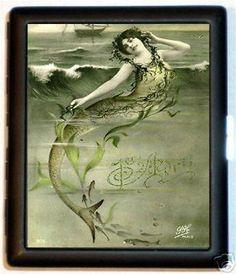 Edwardian Mermaid Cigarette Case Business Card Wallet Art Nouveau French Fantasy