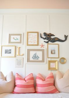 Bungalow Blue Interiors - Coastal Home Décor pink stripes. wrong shade but like the combo with a print