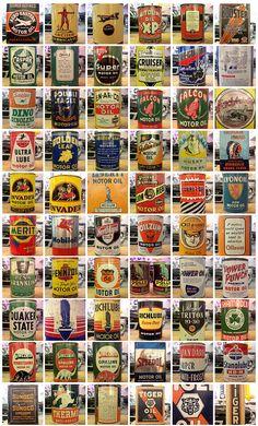 Vintage motor oil cans PD