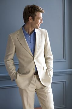 groomsman inspiration (bright shirt w/linen suit)