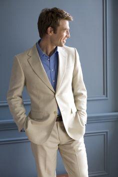 groomsman inspiration (bright shirt w/linen suit)