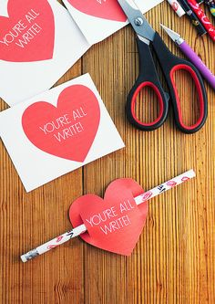 "Valentines Day Card Free Printable: ""You're All Write"" I think these would be fun to hand out in the office. Everyone loves getting a Valentine card! #love #valentine"